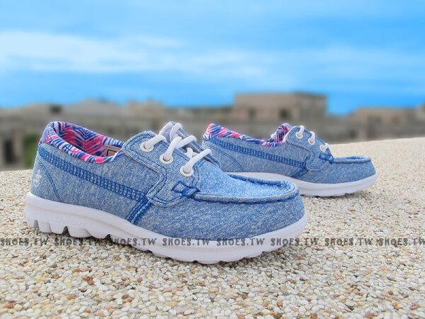 Shoestw【81079LBLU】SKECHERS 中童鞋 GoWalk 記憶泡棉鞋墊 帆船鞋 藍 女生可穿