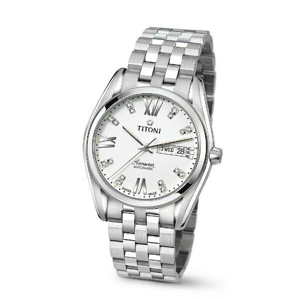 TITONI瑞士梅花錶93709S-385空中霸王雙日曆機械腕錶/白面40mm