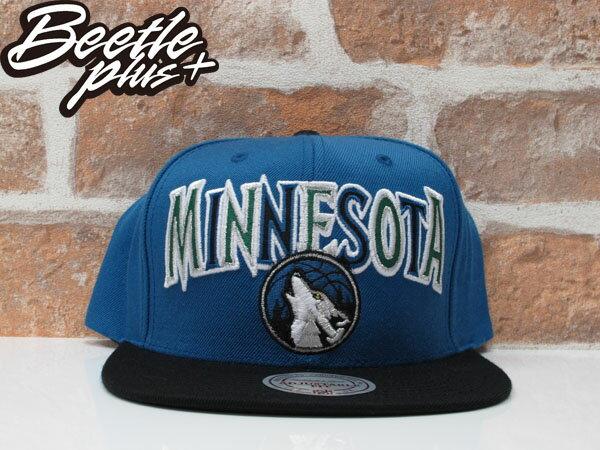 BEETLE MITCHELL&NESS NBA LOGO SNAPBACK MINNESOTA TIMBERWOLVES RICKY RUBIO KEVIN GARNETT 明尼蘇打 灰狼隊 後扣棒球帽 黑藍 0