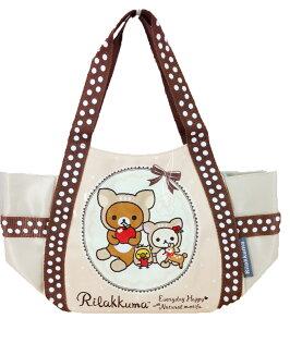 【真愛日本】16011200020拉拉熊水餃袋-小鹿淺咖  SAN-X 懶熊 奶妹 奶熊 拉拉熊  提袋  手提包