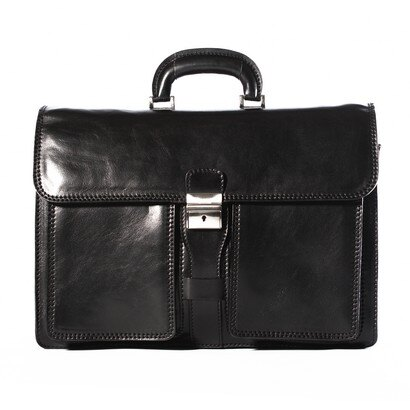 Tassia Milan Leather Briefcase (black) 0