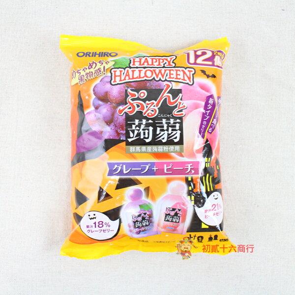 【0216零食會社】日本ORIHIRO_雙色蒟蒻果凍(紫葡萄+白桃)240g_12入