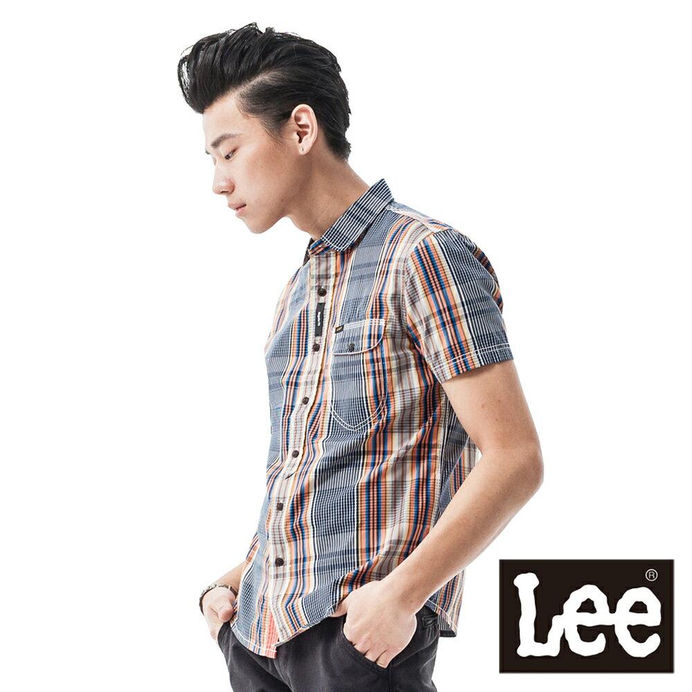 ~ 3折 ↘ ~Lee 領口橢圓型 細格紋 短袖襯衫~男款^(多色^)