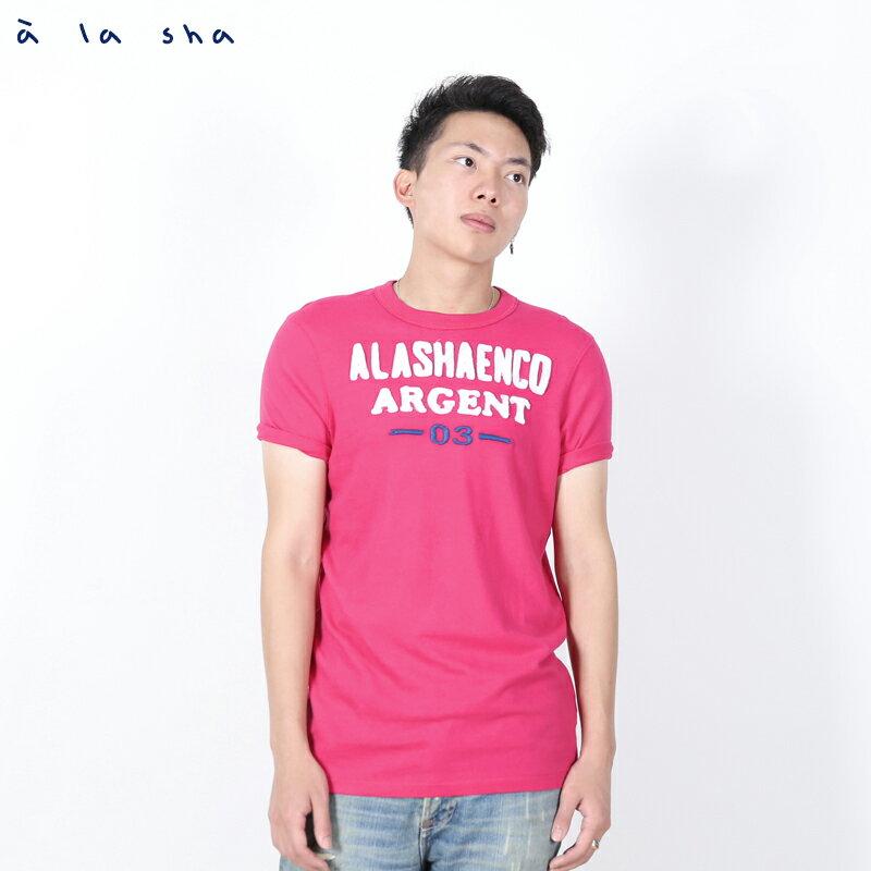 a la sha enco 字母和數字圖圓領短T(男) 1