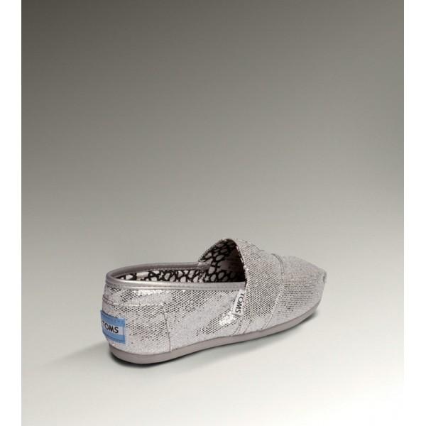 【TOMS】經典亮片款平底休閒鞋(銀色)  Sliver Glitter Women's Classics 2