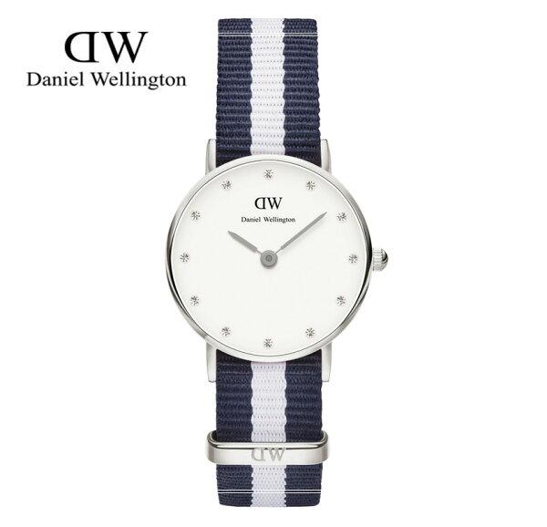 瑞典正品代購 Daniel Wellington 0928DW 銀 玫瑰金 尼龍 帆布錶帶 女錶手錶腕錶 26MM