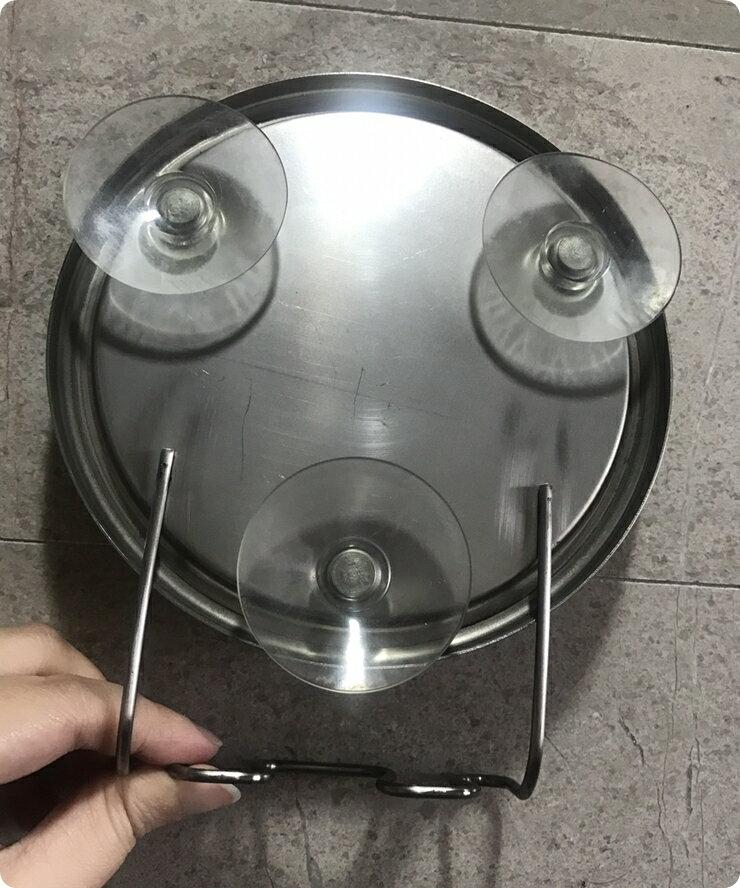 【凱樂絲】浴室吸盤不鏽鋼防霧化妝兩用鏡, 可掛刮鬍刀, 沐浴球 不需鑽孔或打洞, 不損害牆面, 可吸附於磁磚表面, 易安裝 4