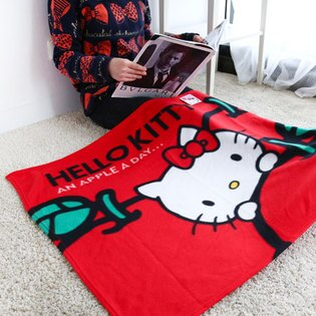 正版Hello Kitty刷毛保暖毯 保暖被 毛毯 懶人毯 冷氣毯 毯子 台灣製 凱蒂貓 KT【N200283】