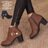 格子舖*【KD5103】MIT台灣製 摩登流行款 高質感素面皮革 金屬拉環內拉鍊 粗高跟短靴 2色 2
