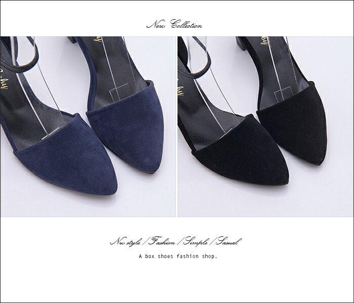 格子舖*【KT7368】MIT台灣製 麂皮拼接皮革 金屬扣帶 瑪莉珍款 7.5CM粗高跟鞋 尖頭包鞋 2色 2
