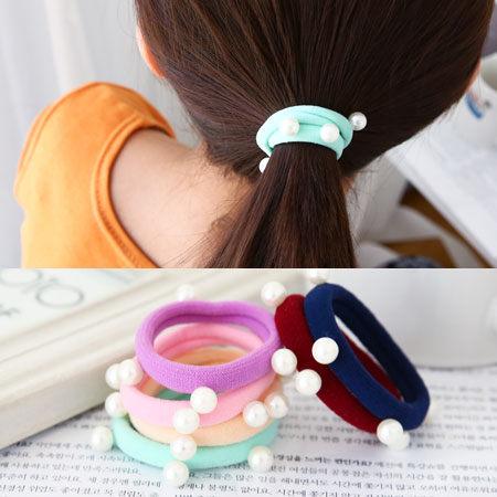 韓版 糖果色系珍珠髮圈 彈性頭飾 髮束 串珠髮飾 髮繩【N100091】