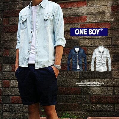 『 One Boy 』【N358001】關鍵秋款無印系丹寧質料長袖襯衫