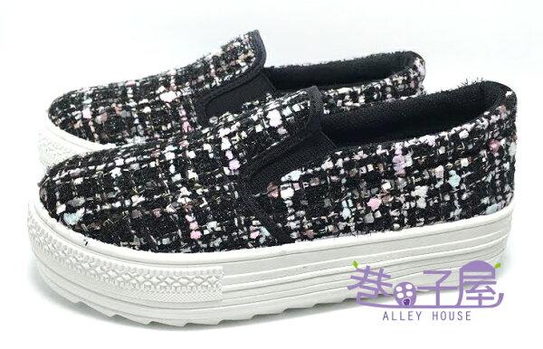 【巷子屋】吉梵尼梵侖鐵諾 女款毛呢厚底懶人鞋/樂福鞋 4cm [8216] 黑色 MIT台灣製造 超值價$198