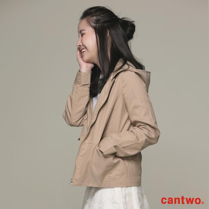 cantwo微光澤連帽短版風衣外套(共三色) 2
