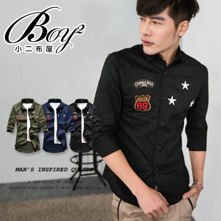 ☆BOY-2☆ 【PPK87015】七分袖襯衫美式潮流星星電繡 1