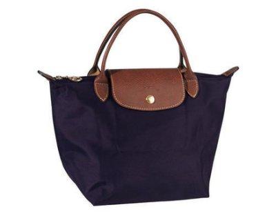 [短柄S號] 深紫色 國外Outlet代購正品 法國巴黎 Longchamp [1621-S號]  購物袋防水尼龍手提肩背水餃包