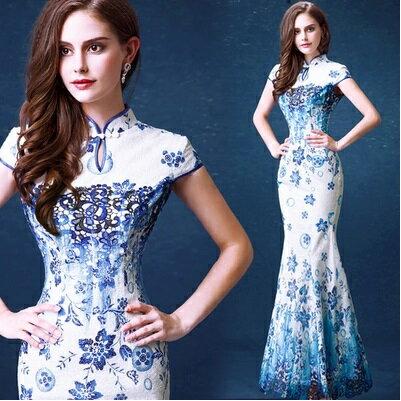 天使嫁衣【AE217】藍色蕾絲青花瓷改良式魚尾旗袍長禮服˙預購訂製款