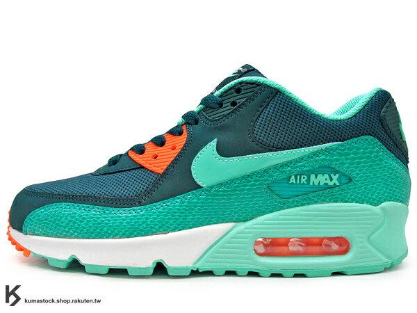 [24.5cm] 2014 最新 NSW 經典款式復刻 NIKE WMNS AIR MAX 90 女鞋 森林綠 海洋綠 綠橘 蛇紋 綠蛇紋 透氣網布 皮革 氣墊 (325213-409) !