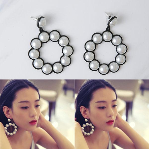 PS Mall 韓版新款時尚誇張珍珠氣質大圈圈吊墜耳環耳釘耳針【G2209】