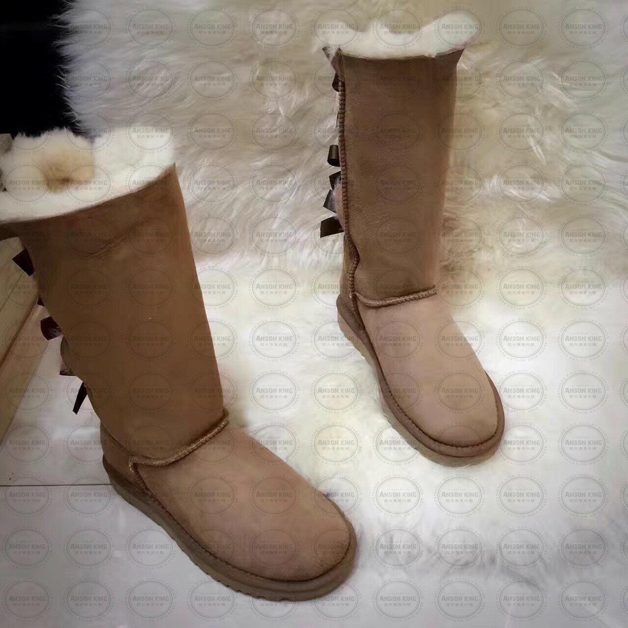 OUTLET正品代購 澳洲 UGG 一體女式絲帶蝴蝶結 保暖 真皮羊皮毛 雪靴 短靴 棕色 1