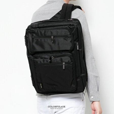 多功能背包 硬挺厚實尼龍側背包手提包 大容量可放15吋筆電 柒彩年代【NZ465】底部鉚釘防滑 0