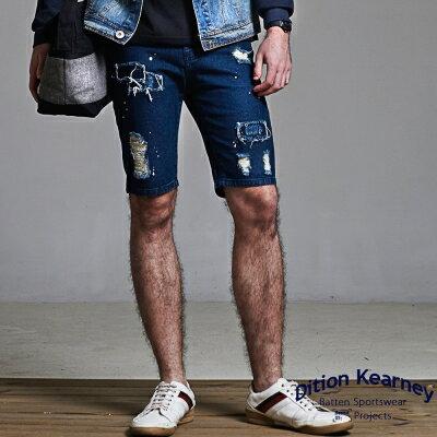 DITION SHOP 多重水洗破壞貼布牛仔短褲 偉士 抽鬚 0