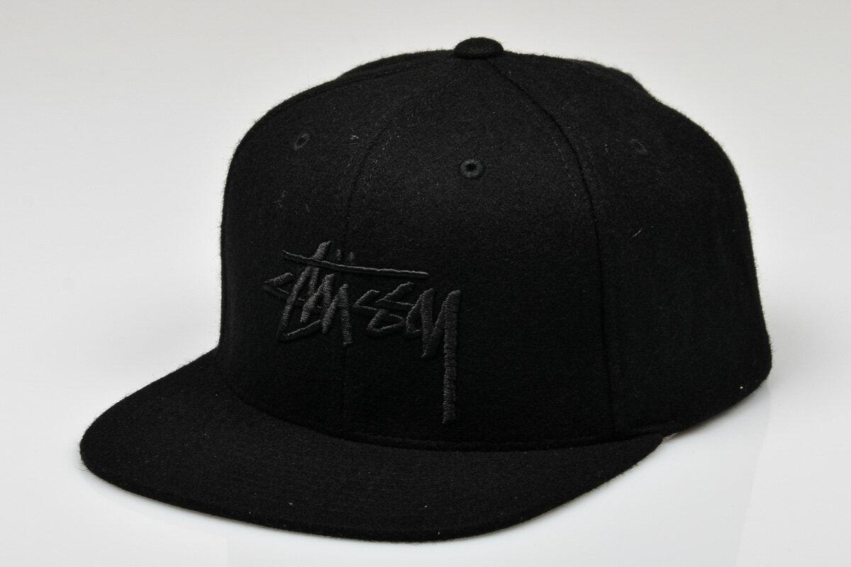 BEETLE PLUS STUSSY SU15 STOCK SNAPBACK 經典 刺繡 全黑 羊毛 CAP 後扣帽 LOGO 素面 棒球帽 ST-25 0