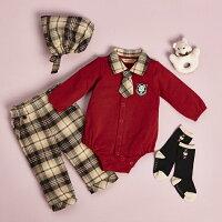 彌月禮盒推薦【金安德森】寶寶禮盒 - 紳士風小領帶套裝(紅色) (彌月禮盒)