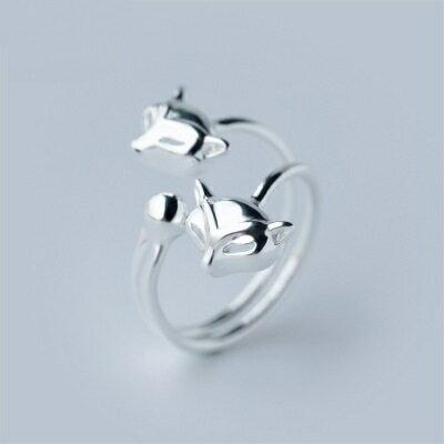 925純銀戒指開口戒~艷麗迷人狐狸 生日情人節 女飾品73dt422~ ~~米蘭 ~ ~