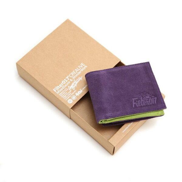 ►法西歐_桃園◄ Filter017 Outdoor Logo Suede Wallet 麂皮設計短夾 紫 綠 撞色 拉鍊 零錢 短夾