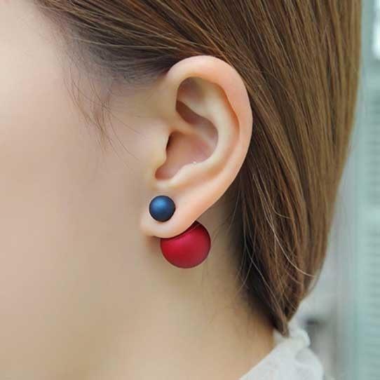 PS  Mall 韓版東大門新年禮物大小雙球雙面珍珠糖果色磨砂珠光圓球耳釘耳環【G1910】