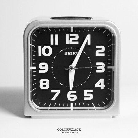 SEIKO精工鬧鐘 圓弧方型時尚銀殼黑底鈴聲鬧鐘 滑動式秒針 夜光功能 柒彩年代【NV1752】原廠公司貨 0