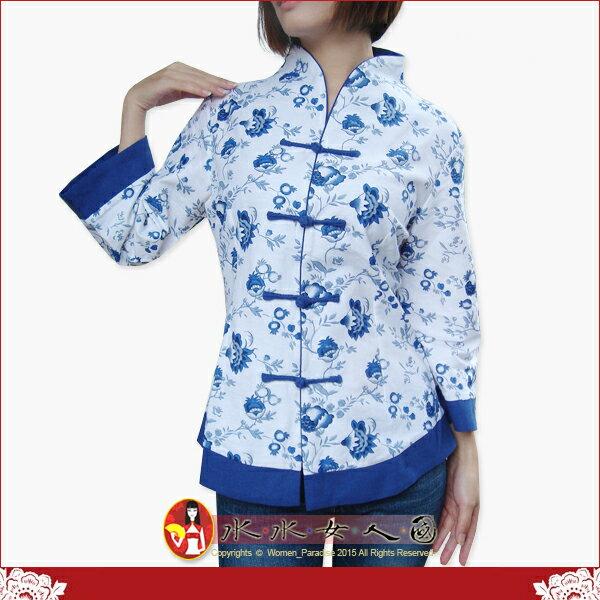 【水水女人國】~中國美穿在身~青花瓷。古典復古印花亞麻七分袖唐裝上衣外套