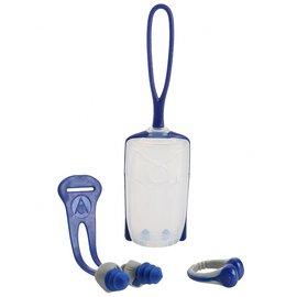 [樂游小舖] 義大利Aqua Sphere (藍/粉紅) 兒童成人雙螺旋游泳耳塞+鼻夾組 附掛繩和掛式收納盒