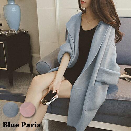 外套 - 純色連帽磨毛大口袋長版外套【29162】藍色巴黎- 預購《2色》現貨+預購 0