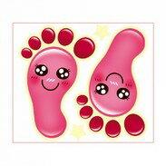 地板防滑貼片(5入)粉腳丫 德德 浴室 螢光 防滑貼片 防滑片 止滑帶 非3M 保護 老人 小孩 孕婦 安全