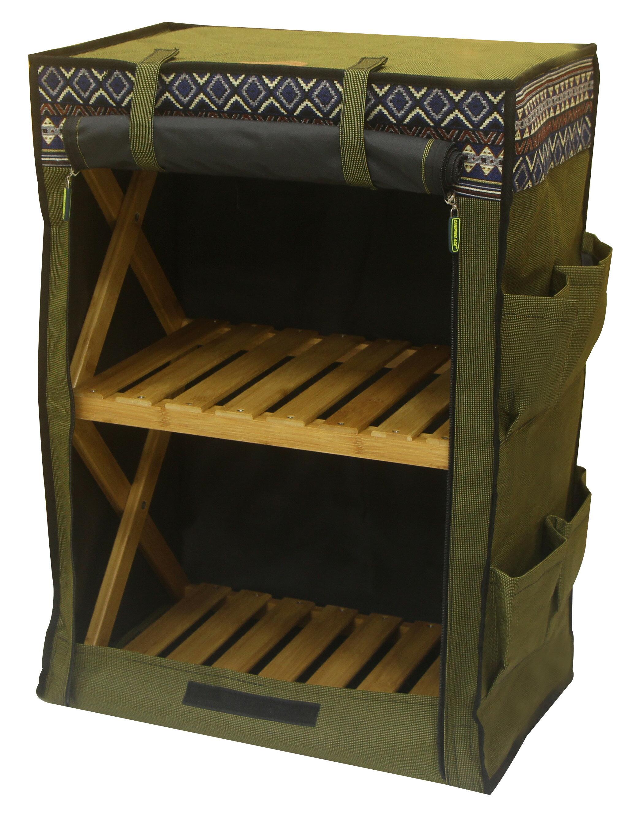 野樂伸縮三層竹架布櫃,布袋下方有魔鬼氈設計 ARC-109-3C 野樂 Camping Ace 0