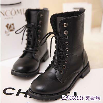 ☼zalulu愛鞋館☼ HE258 預購 歐美風帥氣簡約百搭中筒經典馬丁靴-偏小-黑-36-42