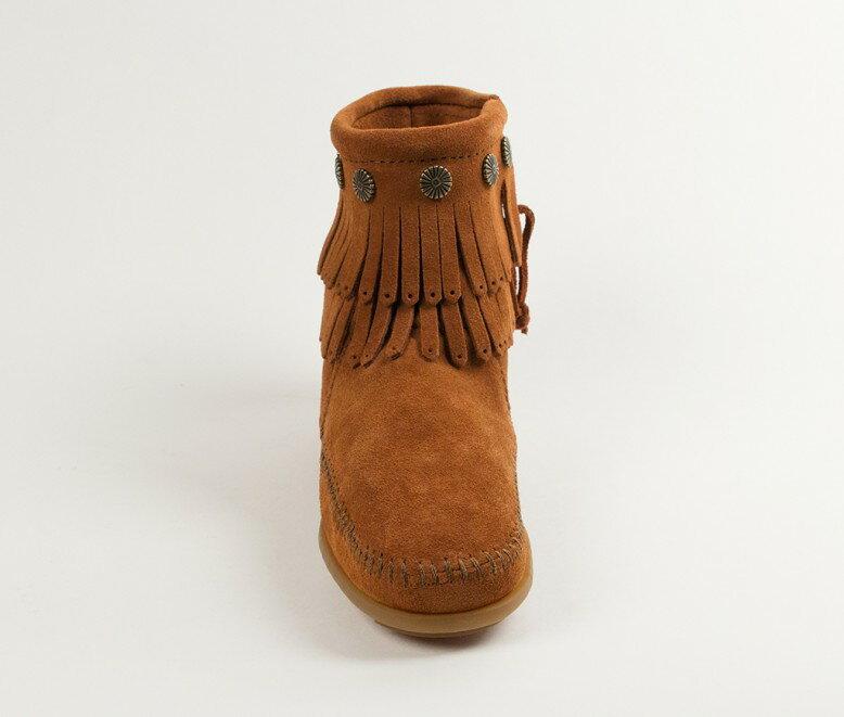 【Minnetonka 莫卡辛】棕色 - 雙層麂皮流蘇踝靴 5