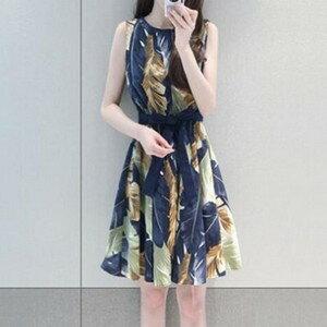 [人氣暢銷] 綁帶度假印花無袖洋裝 (M-2XL) - 梅西蒂絲