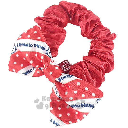 〔小禮堂〕Hello KItty 絲質髮圈~紅白.點點.蝴蝶結型~也可當可愛手環 ~  好