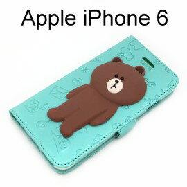 LINE公仔側掀皮套 熊大 [歪頭綠] iPhone 6 / 6S (4.7吋)【正版授權】