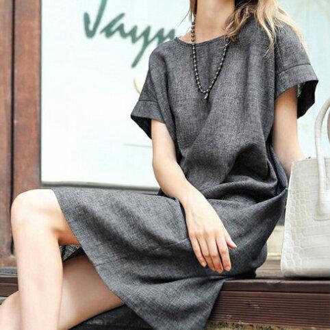 短洋裝 - 圓領簡約設計隱形口袋亞麻寬鬆連衣裙【29094】藍色巴黎-現貨+預購 0
