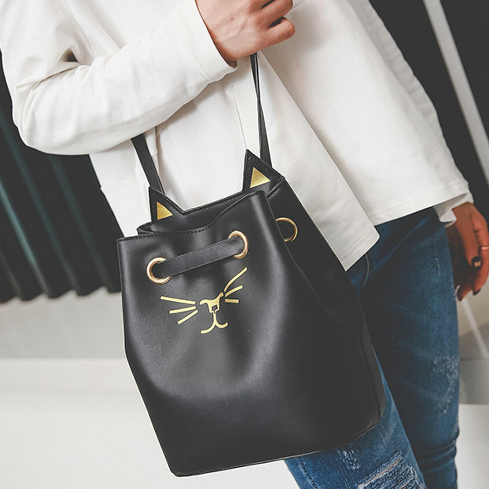 側背包 超萌貓臉刺繡皮革側背水桶包【O3212】☆雙兒網☆ 0