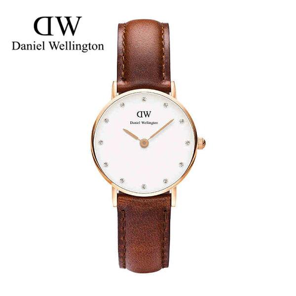 瑞典正品代購 Daniel Wellington 0900DW  玫瑰金鑽  真皮 錶帶 男女錶 手錶腕錶 26MM