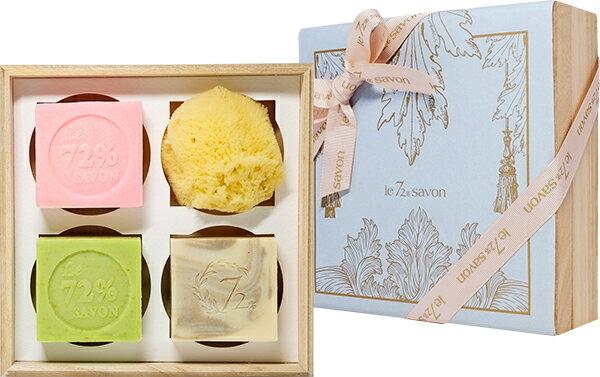 《雪文洋行》禮物系列~雲端的美夢禮盒組-香皂110gx3+天然海綿7-9cm(小)x1-贈精緻紙禮盒包裝與提袋