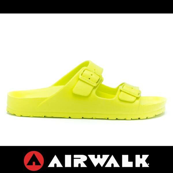 萬特戶外運動-AIRWALK A535220171 美國運動流行 台灣製造 雙扣環拖鞋 EVA 運動拖鞋 勃肯鞋款BIRKENSTOCK 萊姆綠