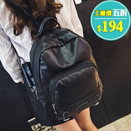 質感韓版黑色皮帶裝飾後背包 包飾衣院 P1805 現貨