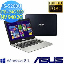ASUS 華碩  K401LB-0021A5200U 黑 14吋筆記型電腦 i5-5200U/4G/1TB+24G/NV940/WIN8.1