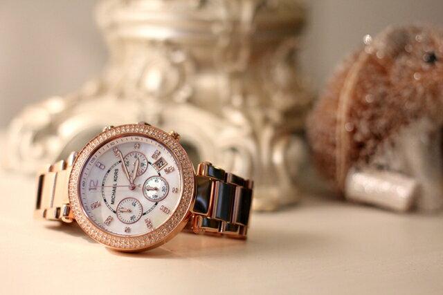 【限時8折 全店滿5000再9折】MichaelKors MK 玫瑰金鑲鑽 三環計時手錶腕錶 MK5491 美國Outlet 正品代購 5
